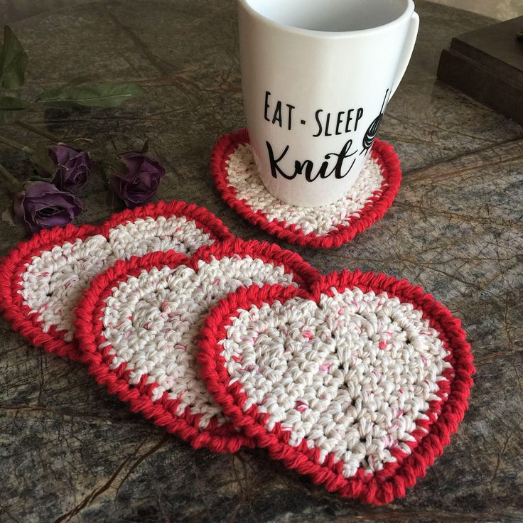 Excited to share the latest addition to my #etsy shop: Crocheted coaster, set of 4, coaster, drink coaster, cotton coasters, heart coasters, gift, linen, gifts, Valentines Day, coasters, gift