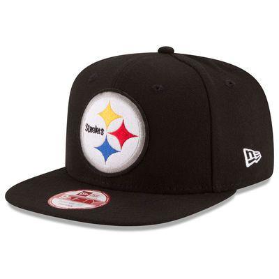 Men's New Era Black Pittsburgh Steelers Retro Logo Original Fit 9FIFTY Snapback Adjustable Hat