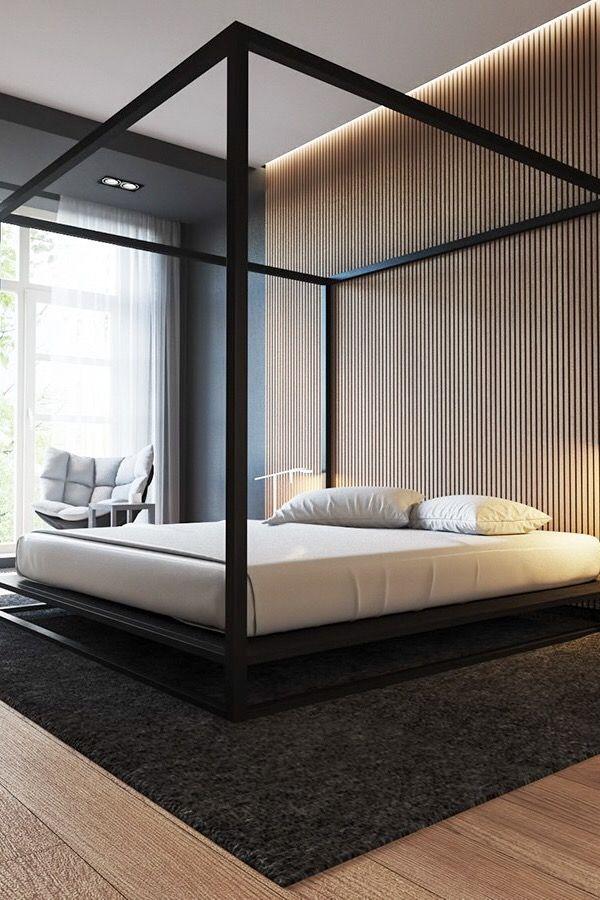 30 Ideen Fur Moderne Schlafzimmergestaltung Mit Lamellenwand Mit