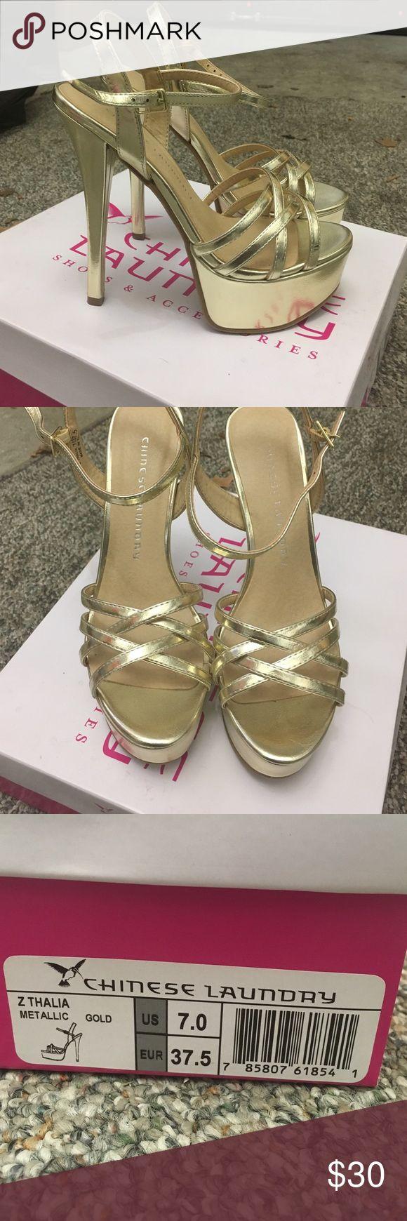 Gold High heels Gold high heels. Never worn. Size 7 Shoes Heels