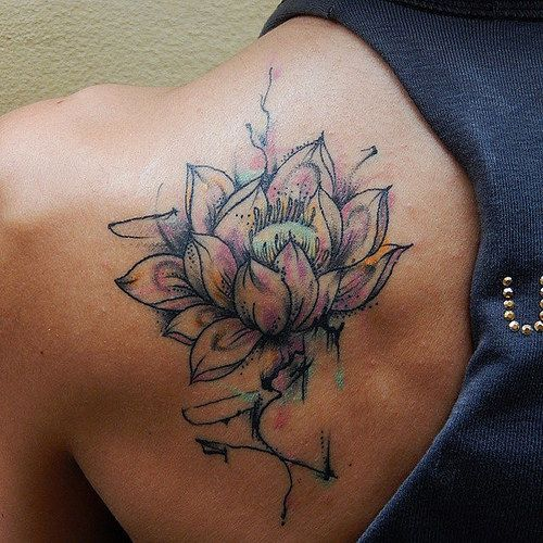 Watercolor Lotus flower tattoo - the waterlily is my birth flower and I have always loved the symbolism of the lotus