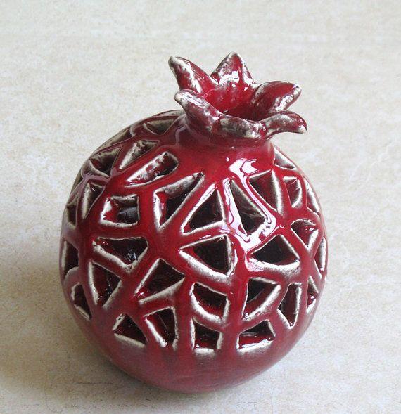 Handmade Ceramic Red VASE POMEGRANATE Design Pinterest