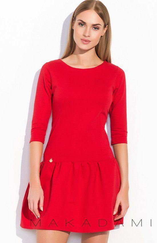 Makadamia M297 sukienka czerwona Piękna sukienka, doskonała zarówno na co dzień jak i na wieczór, rękaw 3/4