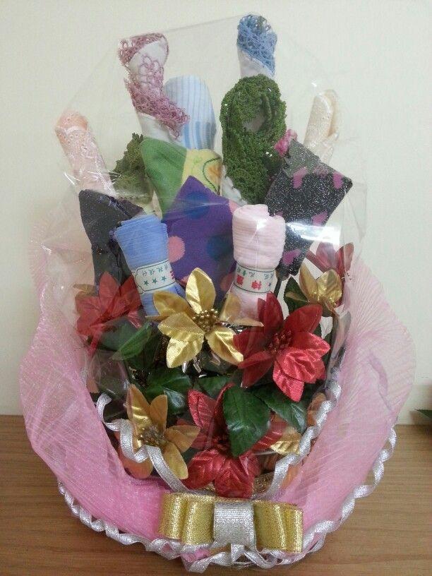 crochet handkerchiefs n fancy socks bouquet!