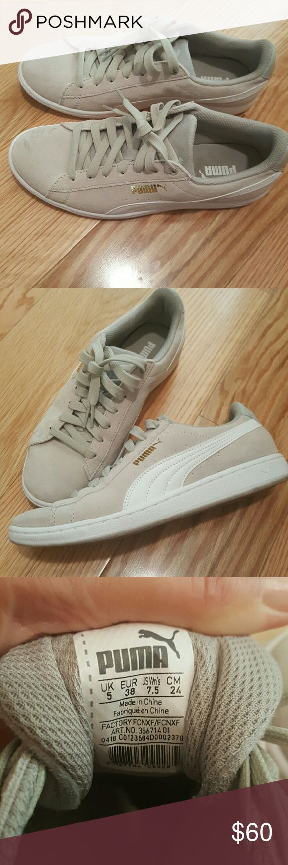 Classic PUMA Like New light gray suede Worn across the street for dinner and back ONLY! Bought at Saks!  Has gold PUMA label - so chic.  I accidentally bought the wrong size and I'm so bummed to have to list them!  LIKE NEW!!! Puma Shoes Athletic Shoes