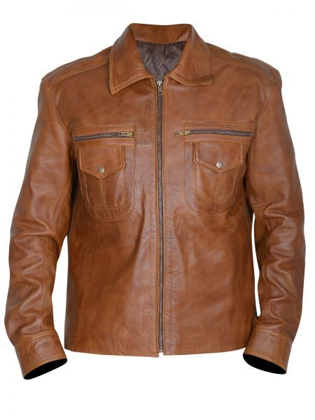 Mens Classic Brown leather Jacket