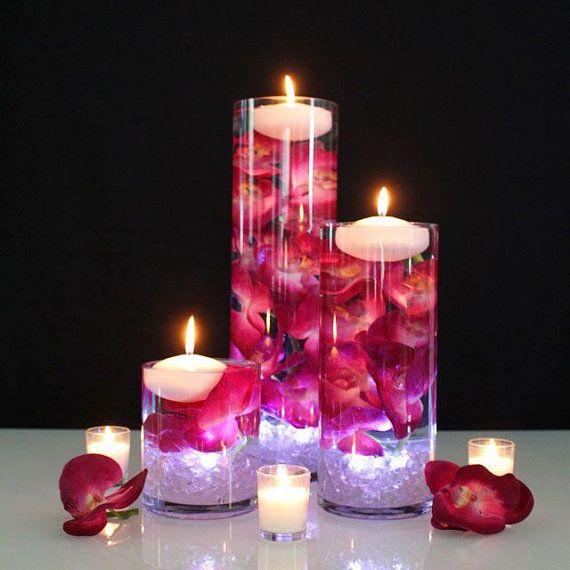 Set of 3 cylinder vase centerpiece by BestDressedEvents on Etsy