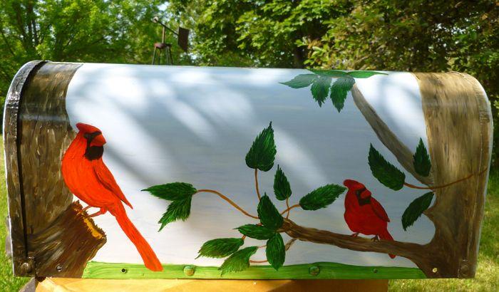 Cardinal Rural Mailbox (acrylic on metal)