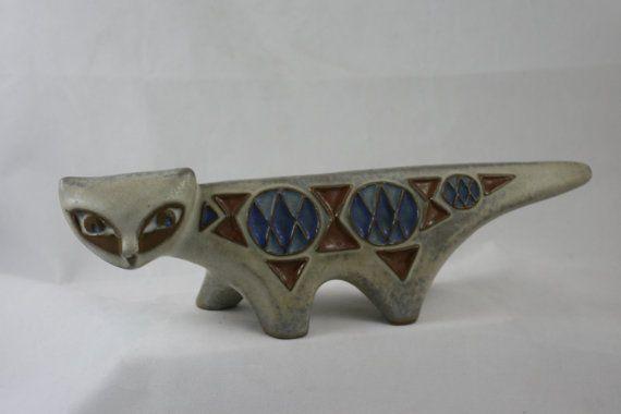 Mid Century Danish Studio Pottery Cat By Marianne by FavAntiques