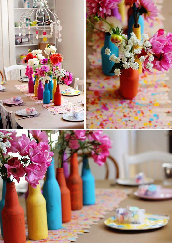 """""""About to pop"""" baby shower with lots of bright colors & painterly details"""