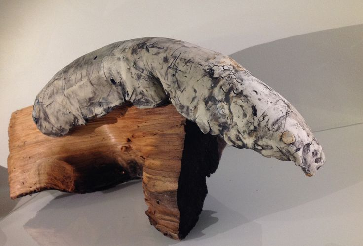 Karen Lee Edwards; Creature Two©; Porcelain, stoneware, dry frit, stain, larch; 2016.