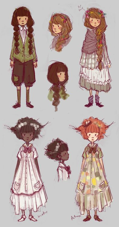 missus-ruin:        More commission footwork doodles. Some mori girls.    Love these!