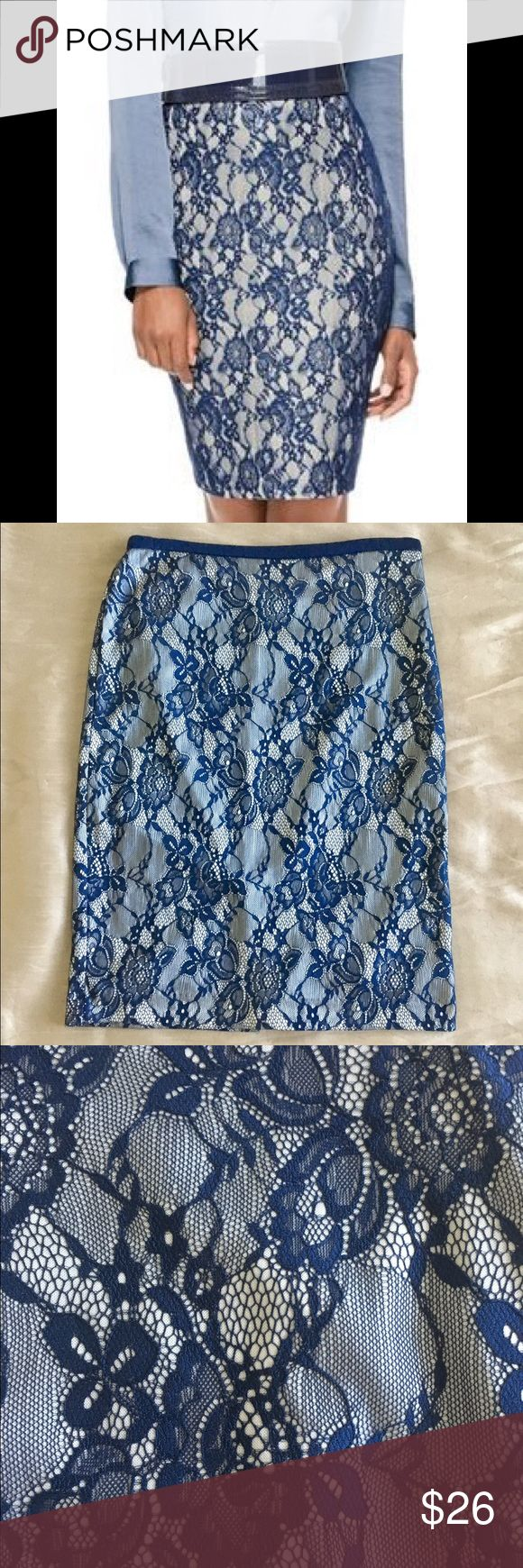 The Limited Blue lace Pencil Skirt Gorgeous Limited Blue Lace Pencil Skirt. This skirt is sooo pretty on. Just a great look. Fully lined with slit in back. Excellent Condition! The Limited Skirts Pencil
