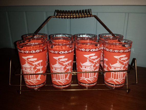 Fantastic HAZEL ATLAS Pagoda TUMBLERS set in Atomic brass carrier with napkin holders mid century asian