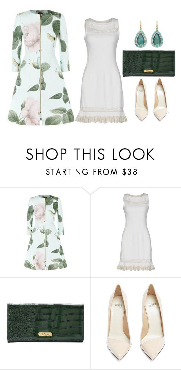 """""""dinner coat"""" by esha2232 ❤ liked on Polyvore featuring Ted Baker, Alaïa, Buxton, Francesco Russo and Irene Neuwirth"""