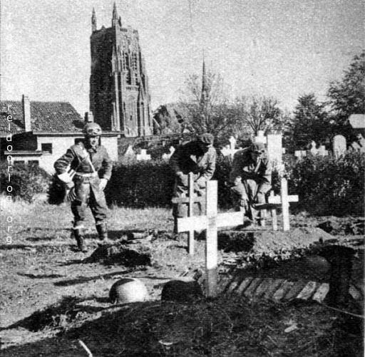 Digging graves for fallen Polish soldiers. Near Gilze Rijen, The Netherlands.
