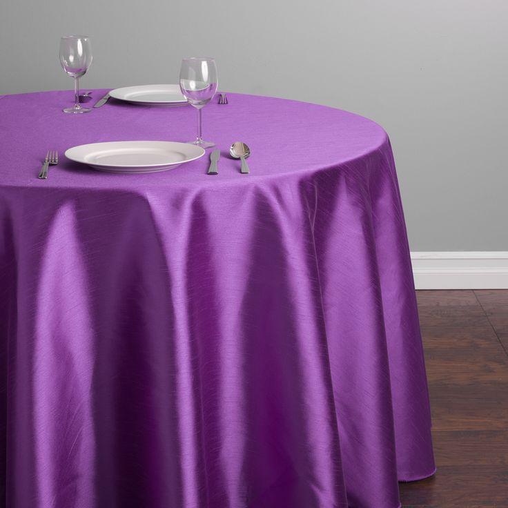 Round Shantung Silk Tablecloth Purple