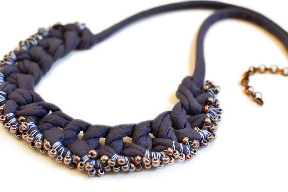 Beaded Fabric Necklace, Dark Purple Crochet Collier, Pearl Necklace, Grey and Light Blue