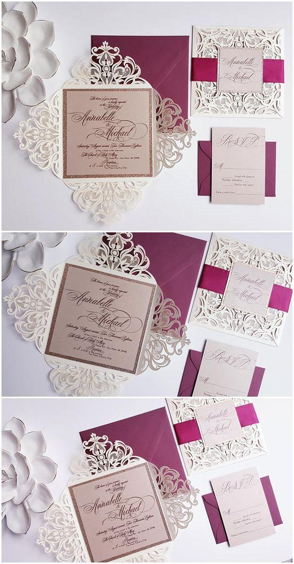 d3e619f9f4c1d Winter laser cut wedding invitation - Burgundy gold wedding ...