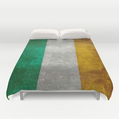 National flag of the Republic of Ireland - Vintage Version Duvet Cover by LonestarDesigns2020 - Flags Designs + - $99.00 #Ireland