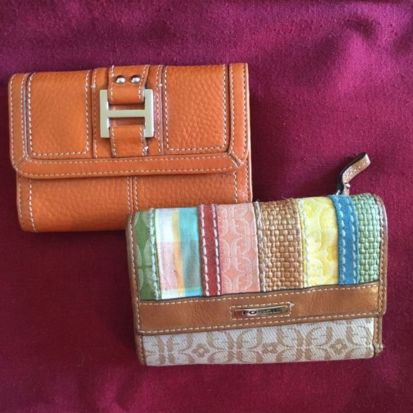 Fossil Wallets  Two Fossil Wallets/I-Burnt Orange/1-Tan w/Multicolored stripes/GUC/ Have 16-Card slots,1-ID slot,1-Outside Coin Zip & 2-lg openings for $$$,sz is 5&1/2 x 4 closed & 12&1/2 x 5&1/2 open ( buy separate cost is $16 each or both $27) Fossil Bags Wallets