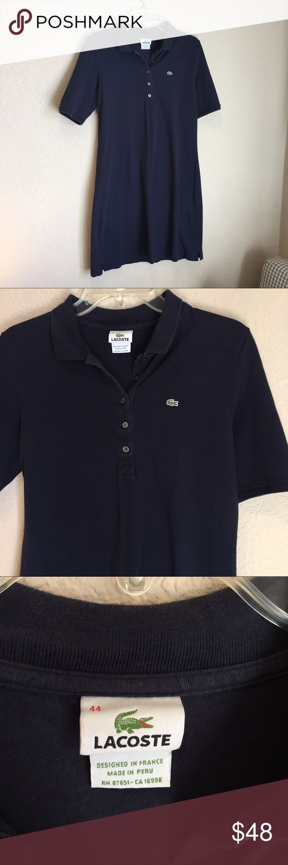 Lacoste polo shirt dress Lacoste polo shirt dress good preloved condition navy blue euro size 44 USA size large Lacoste Dresses