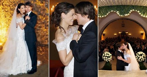 Just because a marriage doesn't last, doesn't mean a dress doesn't remain in the cultural consciousness. And this dress, worn by Katie Holmes in her 2006 ceremony to Tom Cruise, was absolutely remarkable, photographed here in the Odescalchi Castle in Bracciano, Italy. The ceremony was a Scientology affair, with Scientology's leader, David Miscavige, as best man.