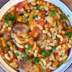 Sausage, bean and macaroni stew - A heart warming stew with sausage meatballs, macaroni and flageolet beans