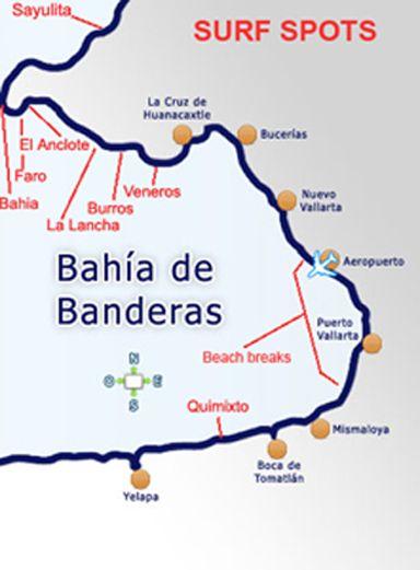 surf spot map of puerto vallarta and bahia de banderas