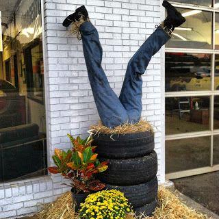 the blog of kim ellis: Our Tire Shop Scarecrow!!
