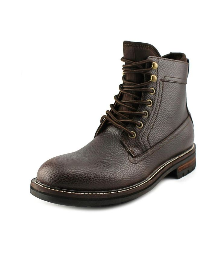 TOMMY HILFIGER TOMMY HILFIGER HOLLINS MEN  ROUND TOE LEATHER BROWN BOOT'. #tommyhilfiger #shoes #boots