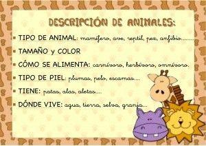 Fichas de lengua: fichas para describir animales - Escuela en la nube