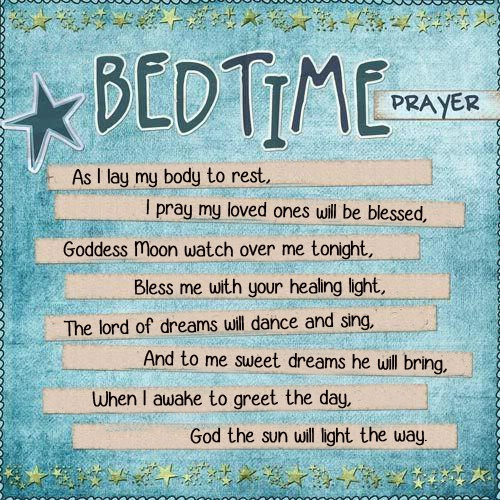 A Child's Bedtime Prayer Sun, Moon watch and Wicca