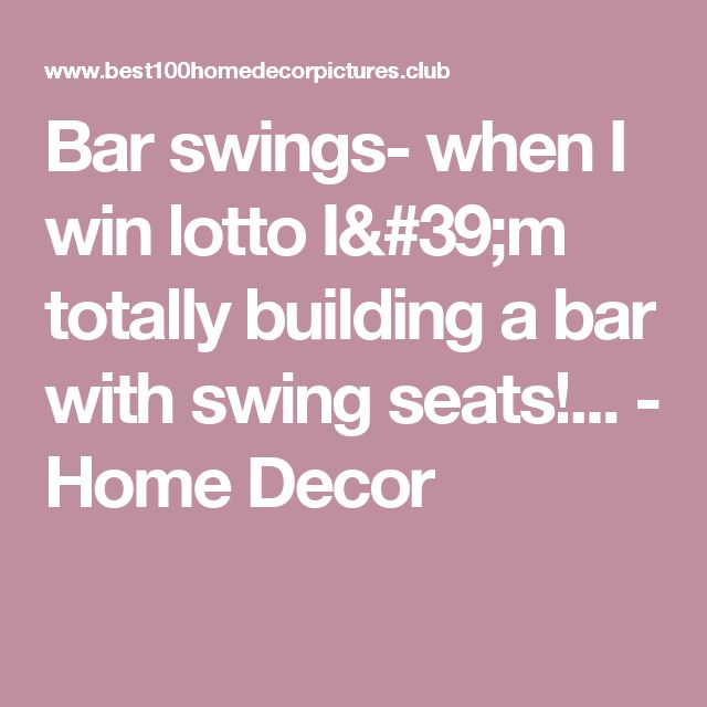 Bar swings- when I win lotto I'm totally building a bar with swing seats!... - Home Decor