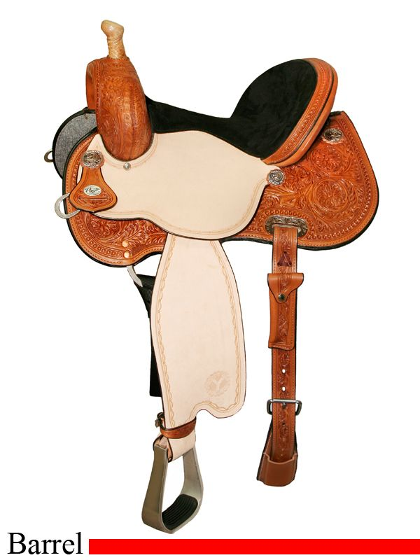Circle Y barrel racing saddles for sale! This one is built on Circle Y's famous Flex2 tree to maximize your horse's freedom of movement.