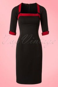 Hulahup TopVintage Exclusive Black Red Pencil Dress 100 10 18624 20160719 0002Wa