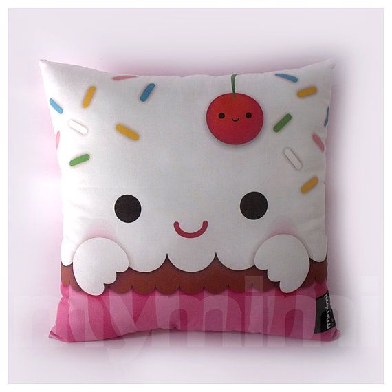 """12 x 12"""" Cupcake Pillow, Stuffed Toy, Kids Room Decor, Children's Pillow, Kids Throw Pillow, Food Pillow, Kawaii Pillow on Etsy, $21.00"""