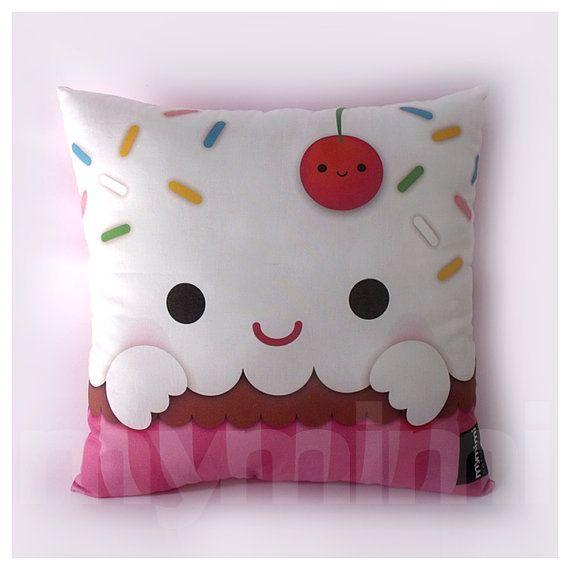 """12 x 12"""" Cupcake Pillow, Stuffed Toy, Kids Room Decor, Children's Pillow, Kids Throw Pillow, Food Pillow, Kawaii Pillow"""