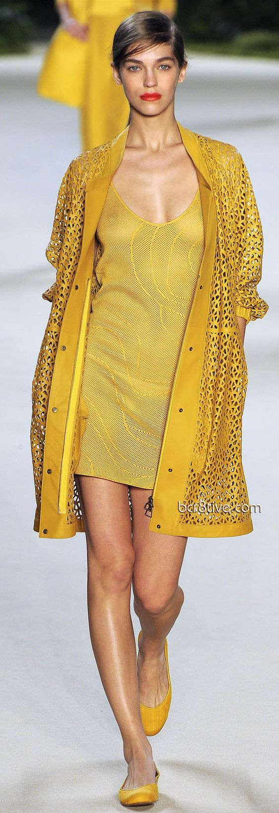yellow dress, jacket @roressclothes closet ideas women fashion outfit clothing style Akris Spring Summer 2013 Ready To Wear: