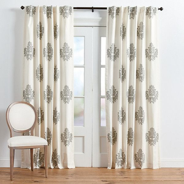 """Ballard Designs Bingham Printed Damask Panel Tuscan Gold 108"""" ($149) ❤ liked on Polyvore featuring home, home decor, window treatments, curtains, tuscan gold, gold damask curtains, damask pattern curtains, gold window treatments, tab curtains and rod pocket panel"""