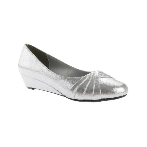 Women's Dyeables Rue Wedge ($70) ❤ liked on Polyvore featuring shoes, dresses, prom shoes, silver, low heel bridal shoes, formal wedge shoes, silver wedge shoes, closed toe wedge shoes and bridal wedge shoes #promshoeslowheeled