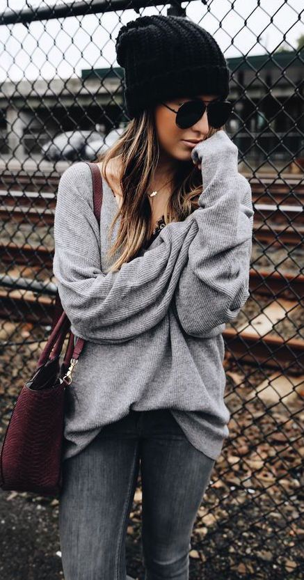 #fall #outfits / gray knit + beanie