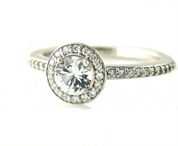 14K White Sapphire Ring Halo Setting Engagement Ring by RareEarth, $756.00