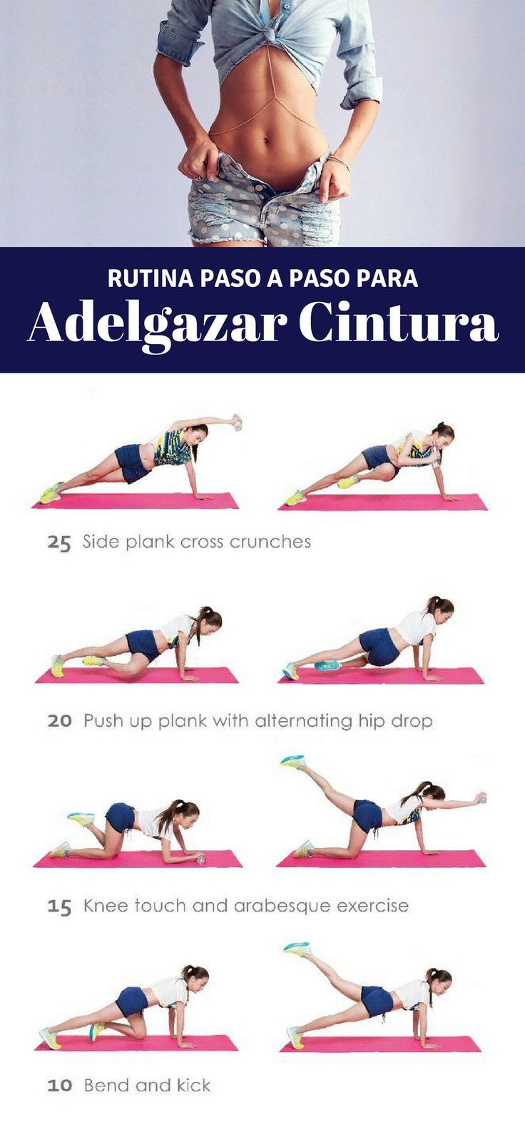 Ponte en forma con esta rutina de ejercicios para adelgazar la cintura. Más tips en nuestro artículo. | Ejercicios en casa para la cintura. #workput #abstraining