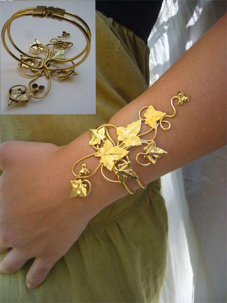 Bracelet lierre – Elemiah Delecto, bijoux de cheveux artisanaux, accessoires coiffure chignon mariage