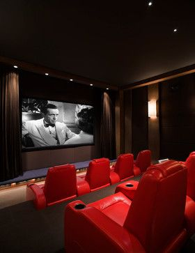 Simple Yet Classic Home Theater Room Red Casablanca