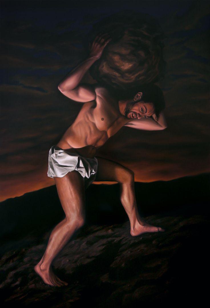 """""""Sísifo"""", óleo sobre lienzo. 195x130cm."""