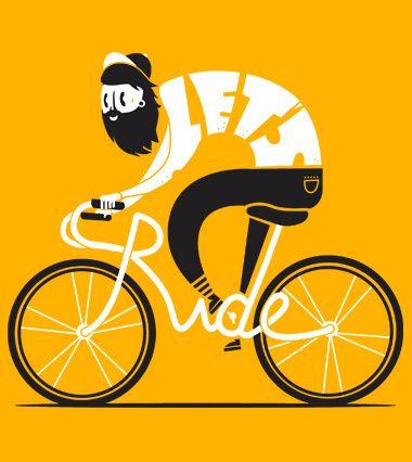 Lets ride - tee shirt - un design laFraise original de spazioC, bike, type, design