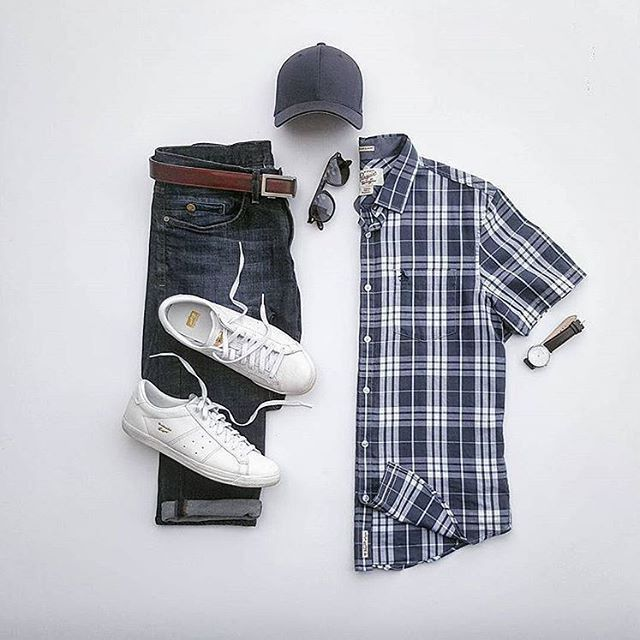 check shirt jeans outfit grid for men