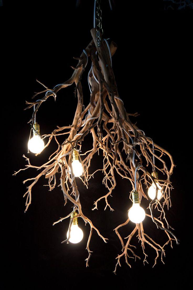 Wood Tree Branch Sculptural Lighting #Chandeliers, #WoodLamp, #halloween